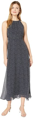 Adrianna Papell Darling Dot Halter Maxi Dress (Navy/Ivory) Women's Dress