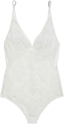 I.D. Sarrieri Crystal-embellished Chantilly Lace Bodysuit