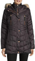 Marc New York Quilted Gilet Coat with Faux Fur Hood