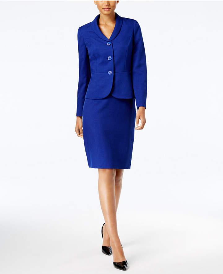 Le Suit Glazed Melange Three-Button Skirt Suit