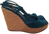 Prada turquoise suede with wedge heel