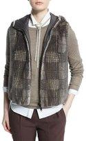 Brunello Cucinelli Reversible Glen-Check Fur Vest, Bark