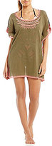 Gianni Bini Striped Embroidered Tunic Cover-Up
