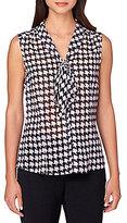 Tahari ASL Chiffon Houndstooth Print V-Neck with Tie Sleeveless Top