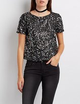 Charlotte Russe Sequin Boxy Skimmer Top