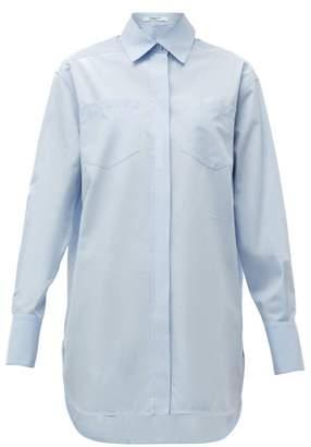 Givenchy Logo-embroidered Cotton-poplin Shirt - Womens - Light Blue