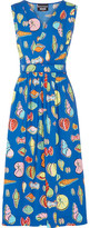 Moschino Wrap-effect Printed Cotton-blend Poplin Midi Dress - Bright blue
