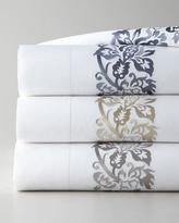 Sferra Full/Queen 406TC Plumes Embroidered Flat Sheet