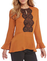 Preston & York Beth Bell Sleeve Lace Trimmed Keyhole Blouse
