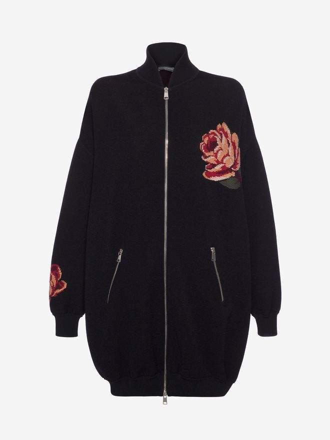Alexander McQueen Rose Tapestry Oversized Knitted Bomber
