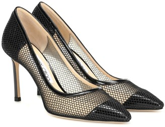 Jimmy Choo Romy 85 patent leather and mesh pumps