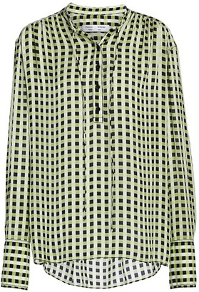 Proenza Schouler White Label Tie-Neck Check Blouse
