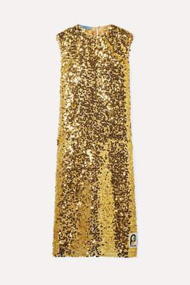 Prada Sequined Organza Midi Dress - Gold