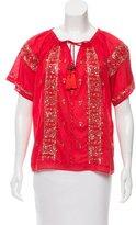 Calypso Embellished Short Sleeve Tunic w/ Tags