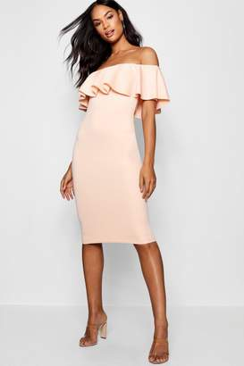 boohoo Tall Off The Shoulder Frill Bodycon Dress