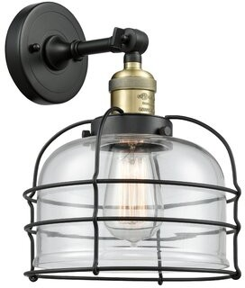 clear Abbotsford Large Bell Cage 1-Light Armed Sconce 17 Stories Finish: Black Antique Brass, Shade Color: Clear, Bulb Type: 60 Watt Incandescent Bulb