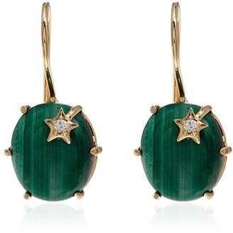 Andrea Fohrman 18kt yellow gold malachite Galaxy diamond earrings