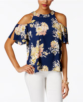 Lily Black Juniors' Printed Cold-Shoulder Top
