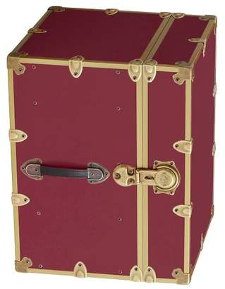 Pottery Barn Teen Canvas Dorm Trunk with Rubbed Brass Trim, Bedside, Bordeaux