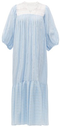 Binetti Love Striped Lace-panel Cotton Dress - Womens - Light Blue