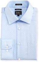 Neiman Marcus Trim-Fit Regular Finish Striped Dress Shirt, Light Blue