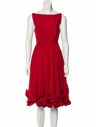 Valentino Bateau Neckline Midi Length Dress Red