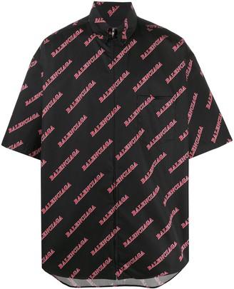 Balenciaga Diagonal Logo Print Shirt