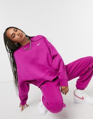 Nike mini swoosh oversized boxy sweatshirt in purple