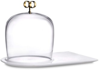 Nude Glass Cupola Cheese Service & Marble Base