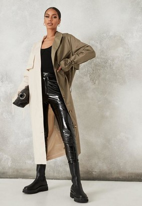 Missguided Khaki Color Block Button Front Trench Coat