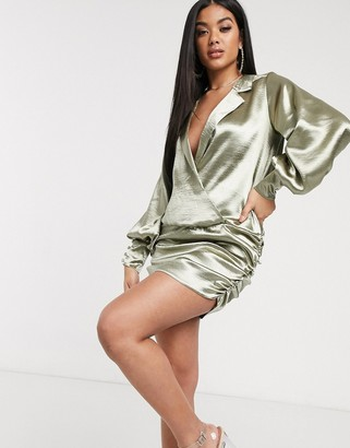 ASOS DESIGN shirt mini dress in high shine satin