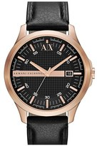 Armani Exchange Leather Strap Watch, 46mm