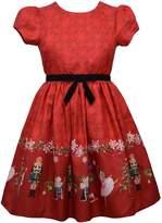 Bonnie Jean Girls 7-16 Short Sleeved Nutcracker Border Dress