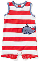 Starting Out Baby Boys Newborn-9 Months Striped Whale-Applique Shortall