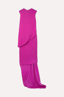 Esteban Cortazar Open-back Layered Asymmetric Crepe Dress - Fuchsia