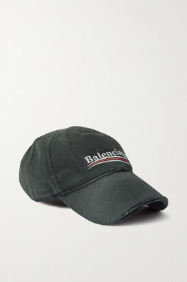 Balenciaga Distressed Embroidered Cotton-twill Baseball Cap - Black