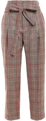 Brunello Cucinelli Belted Prince Of Wales Of Checked Wool Straight-leg Pants
