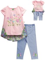 Dollie & Me Girls 4-14 Floral Hi-Low Hem Mini Dress & Capri Leggings Set