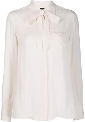 Fay monogram embroidery pussy-bow shirt
