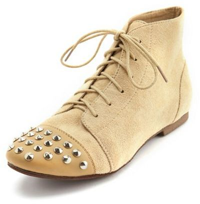 Charlotte Russe Sueded Stud-Toe Ankle Bootie