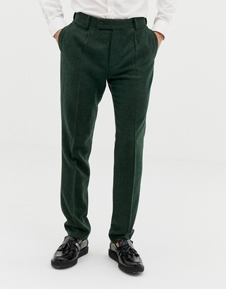 ASOS DESIGN wedding slim suit pants in green wool mix herringbone