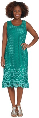 Isaac Mizrahi Live! Petite Engineered Bi-Color Lace Midi Dress