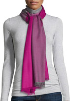 Neiman Marcus Colorblock Wool Scarf, Charcoal/Elsa