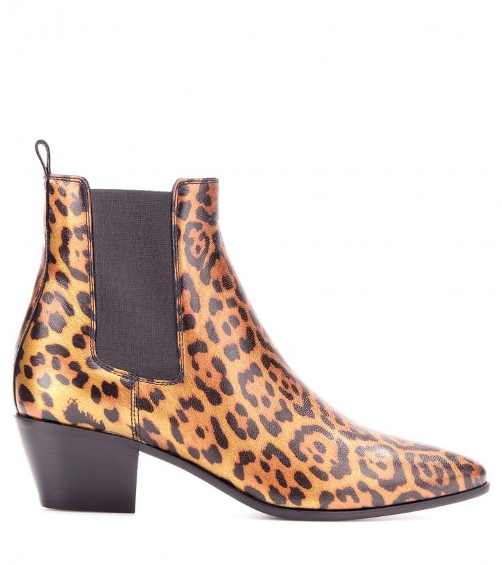 Saint Laurent Rock leopard-print metallic-leather ankle boots