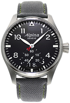 Alpina Al-280b4s6 Aviation Startimer Pilot Leather Strap Watch, Grey/black
