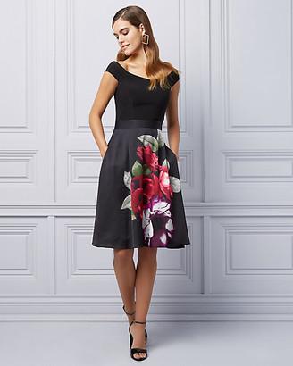 Le Château Floral Print Satin Off-the-Shoulder Dress