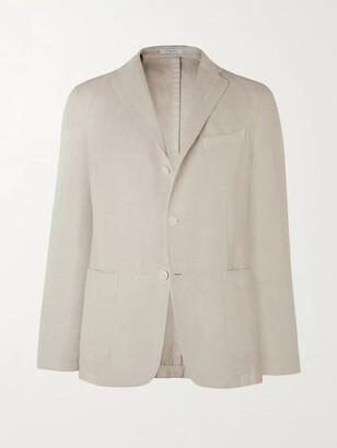 Boglioli Slim-Fit Unstructured Herringbone Cotton And Linen-Blend Suit Jacket