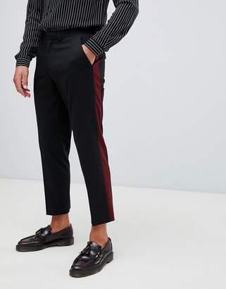 Asos Design DESIGN slim crop smart trouser in alternating colour side stripe-Black