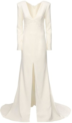 DANIELLE FRANKEL Silk Crepe Long Dress W/ Chantilly Lace