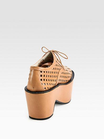 Jil Sander Navy Perforated Leather Lace-Up Platform Oxfords